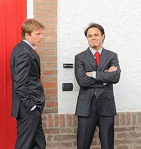 Kimi and Felipe Massa in Maranello to see President Napolitano at a Ferrari ceremony, 19th March 2009