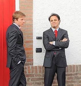 Kimi and Felipe Massa in Maranello to see President Napolitano at a Ferrari ceremony, 19th March 2009